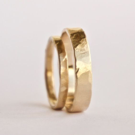 Image Source - https://www.etsy.com/uk/listing/291739243/wedding-ring-set-two-hammered-gold-rings?utm_source=Pinterest&utm_medium=PageTools&utm_campaign=Share